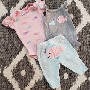 Carter's Girls Fish Matching Bundle 3 Months